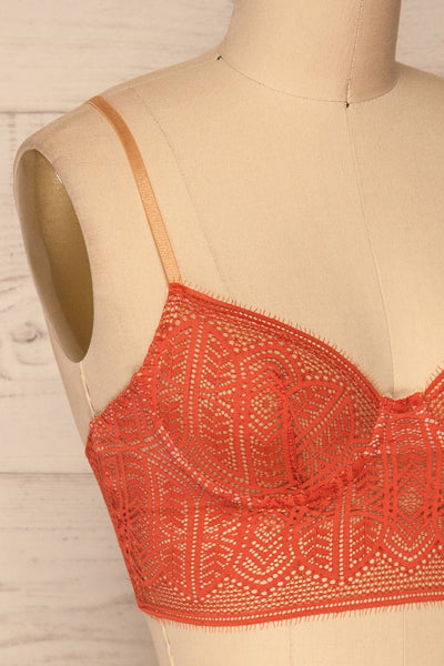 Brisy Orange & Beige Lace & Mesh Bra | La Petite Garçonne Chpt. 2 side close-up