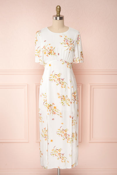Briwate White Floral Short Sleeve Midi Dress | Boutique 1861 front view
