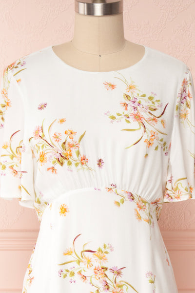 Briwate White Floral Short Sleeve Midi Dress | Boutique 1861 front close up