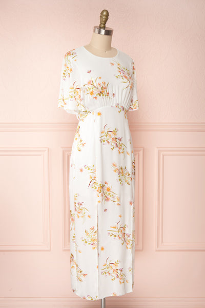 Briwate White Floral Short Sleeve Midi Dress | Boutique 1861 side view