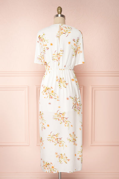 Briwate White Floral Short Sleeve Midi Dress | Boutique 1861 back view