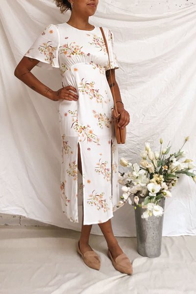 Briwate White Floral Short Sleeve Midi Dress | Boutique 1861 model look