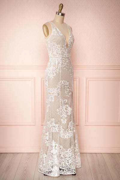Brookelle White Embroidered Mermaid Bridal Gown side view | Boudoir 1861