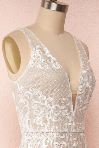 Brookelle White Embroidered Mermaid Bridal Gown side close up | Boudoir 1861