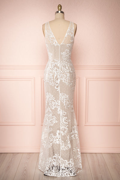 Brookelle White Embroidered Mermaid Bridal Gown back view | Boudoir 1861