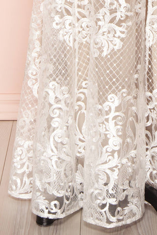 Brookelle White Embroidered Mermaid Bridal Gown skirt close up | Boudoir 1861