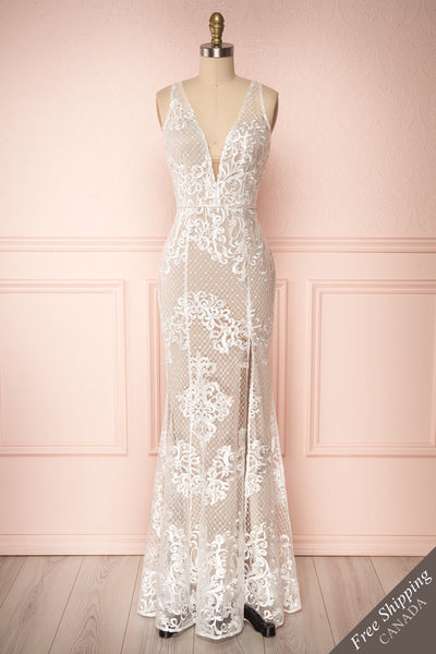Brookelle White Embroidered Mermaid Bridal Gown face view | Boudoir 1861