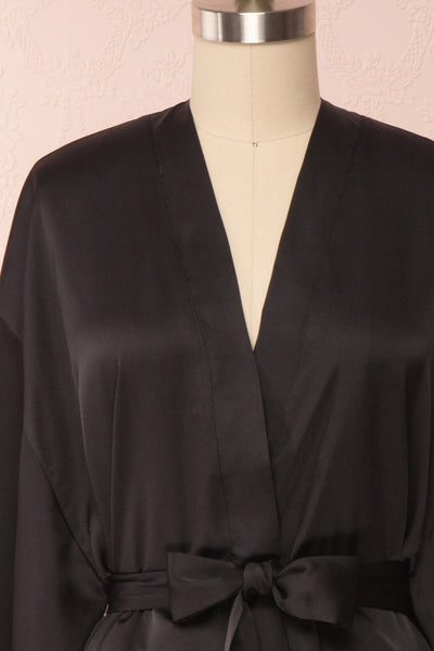Bryna Black Satin Kimono | Boudoir 1861 front close up