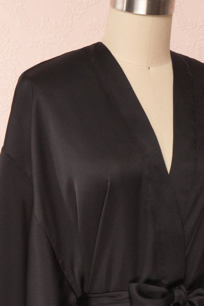 Bryna Black Satin Kimono | Boudoir 1861 side close up