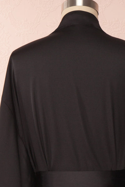 Bryna Black Satin Kimono | Boudoir 1861 back close up