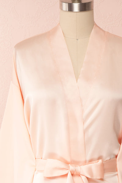 Bryna Blush Pink Satin Kimono | Boudoir 1861 front close up