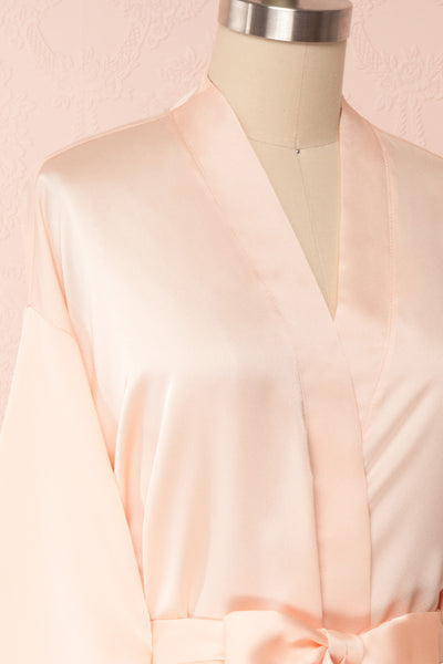 Bryna Blush Pink Satin Kimono | Boudoir 1861 side close up