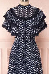 Buffy Navy Blue Embroidered Ruffled A-Line Dress | Boutique 1861