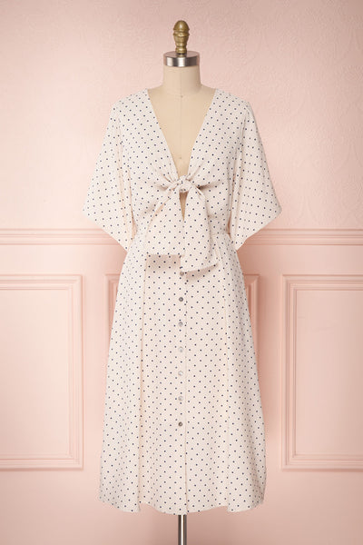 Bunna Day Beige & Navy Polka Dot Midi Dress | Boutique 1861