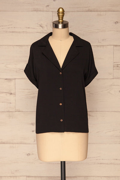 Buzau Black Buttoned Short Sleeved Top front view | La petite garçonne