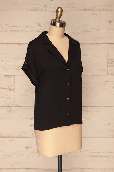 Buzau Black Buttoned Short Sleeved Top side view | La petite garçonne