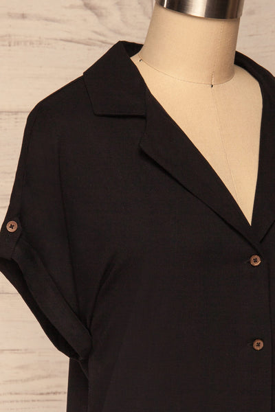 Buzau Black Buttoned Short Sleeved Top side close up | La petite garçonne