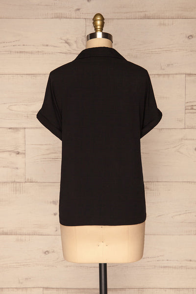 Buzau Black Buttoned Short Sleeved Top back view | La petite garçonne