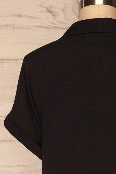 Buzau Black Buttoned Short Sleeved Top back close up | La petite garçonne