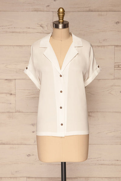 Buzau White Buttoned Short Sleeved Top front view | La petite garçonne