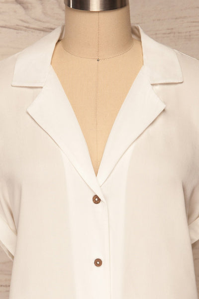 Buzau White Buttoned Short Sleeved Top front close up | La petite garçonne