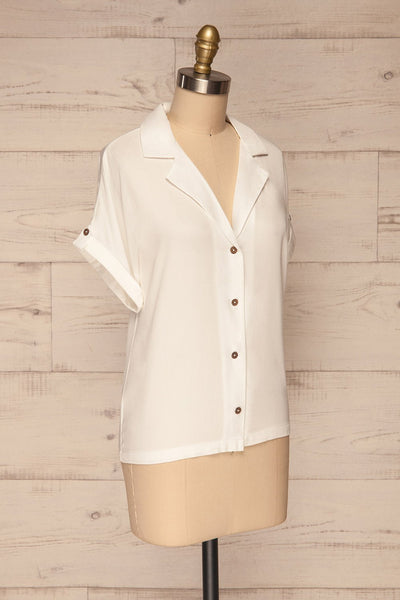 Buzau White Buttoned Short Sleeved Top side view | La petite garçonne