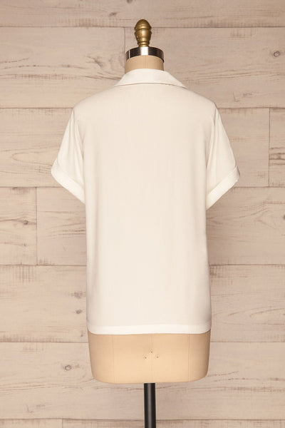 Buzau White Buttoned Short Sleeved Top back view | La petite garçonne