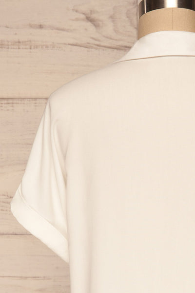 Buzau White Buttoned Short Sleeved Top back close up | La petite garçonne
