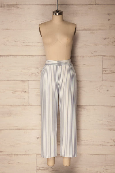 Byklo White, Blue & Lilac Striped Straight Pants | La Petite Garçonne
