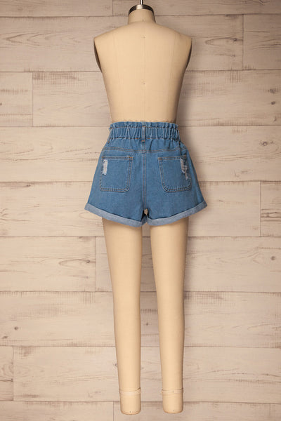 Cabeca Light Blue Denim High Waisted Shorts | La Petite Garçonne 5