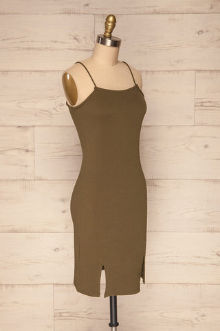 Cachimba Moss Khaki Sleeveless Fitted Dress | La Petite Garçonne
