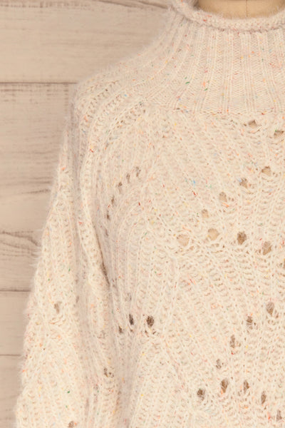 Cachipirca Mock Neck Knit Sweater | La petite garçonne front close-up