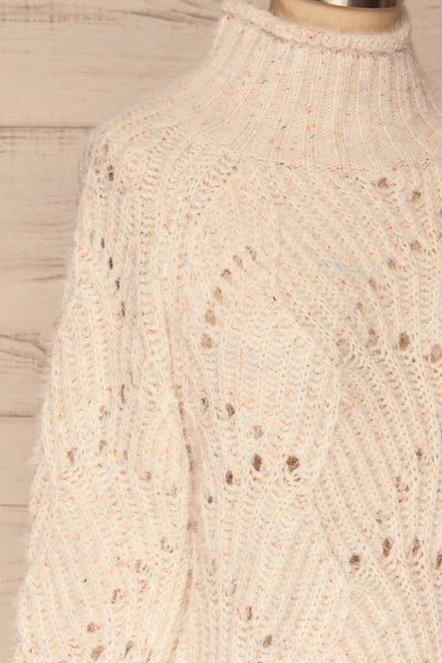 Cachipirca Mock Neck Knit Sweater | La petite garçonne side close-up