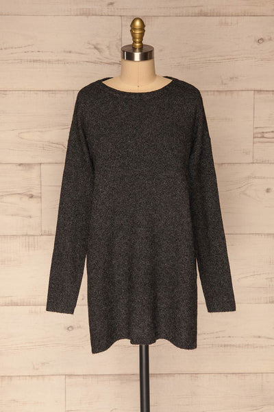 Cadix Black Long Sleeve Knitted Dress | La petite garçonne front view