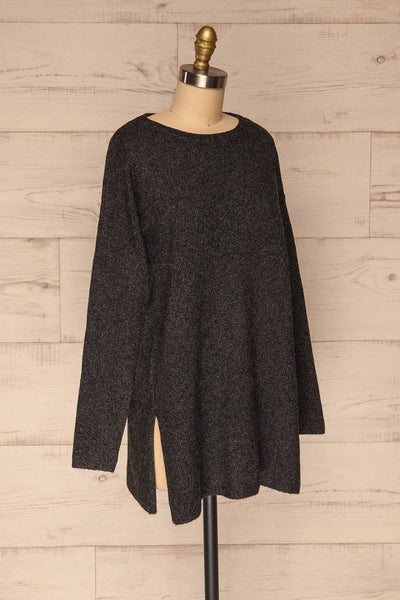 Cadix Black Long Sleeve Knitted Dress | La petite garçonne side view