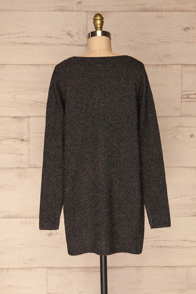 Cadix Black Long Sleeve Knitted Dress | La petite garçonne back view