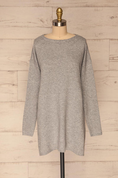 Cadix Grey Long Sleeve Knitted Dress | La petite garçonne front view
