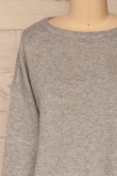 Cadix Grey Long Sleeve Knitted Dress | La petite garçonne front close-up