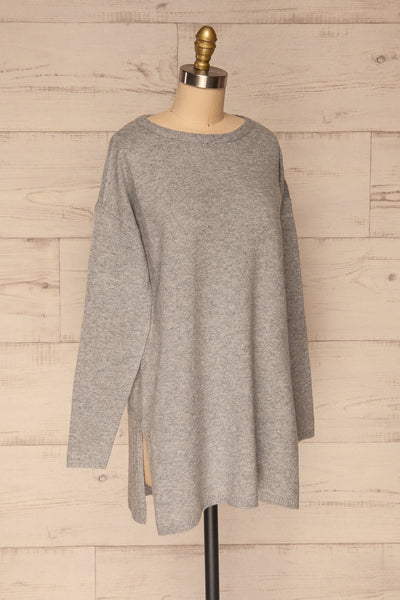 Cadix Grey Long Sleeve Knitted Dress | La petite garçonne side view