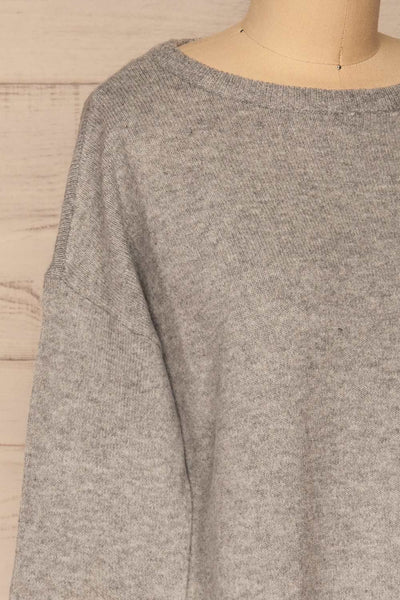 Cadix Grey Long Sleeve Knitted Dress | La petite garçonne side close-up