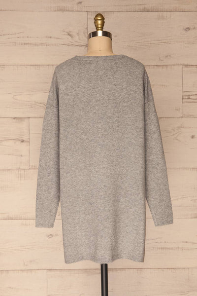 Cadix Grey Long Sleeve Knitted Dress | La petite garçonne back view
