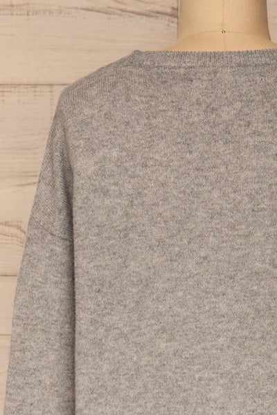 Cadix Grey Long Sleeve Knitted Dress | La petite garçonne back close-up