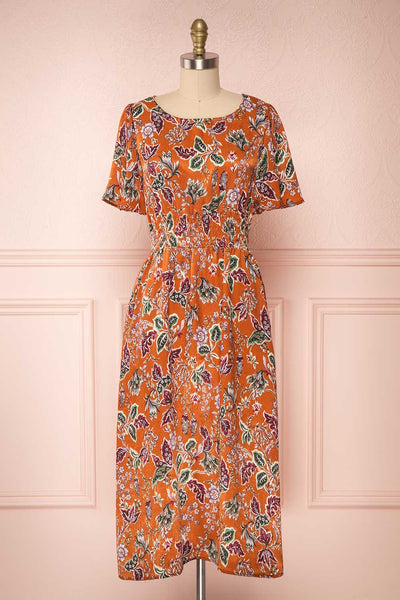 Cahan Cinnamon Orange Floral Silky Midi Dress face view | Boutique 1861