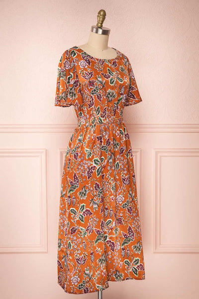 Cahan Cinnamon Orange Floral Silky Midi Dress side view | Boutique 1861