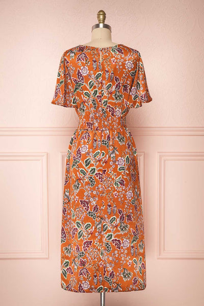 Cahan Cinnamon Orange Floral Silky Midi Dress back view | Boutique 1861