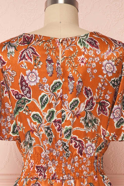 Cahan Cinnamon Orange Floral Silky Midi Dress back close up | Boutique 1861