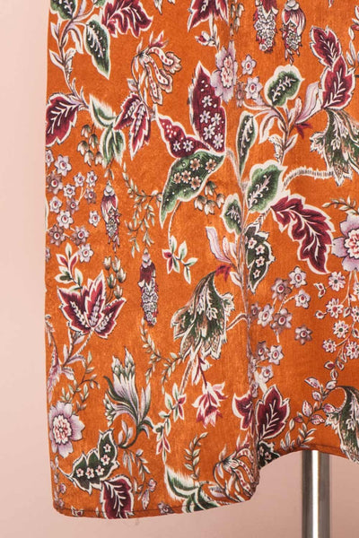 Cahan Cinnamon Orange Floral Silky Midi Dress skirt close up | Boutique 1861