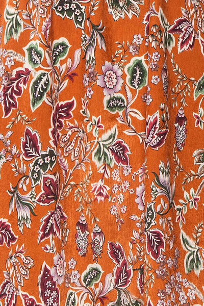 Cahan Cinnamon Orange Floral Silky Midi Dress texture close up | Boutique 1861