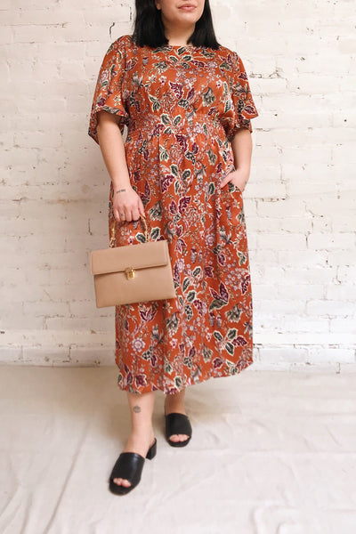 Cahan Cinnamon Orange Floral Midi Dress | Boutique 1861 model look