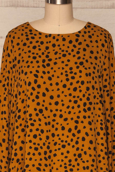 Cajoncito Ochre & Black Polkadot Tunic Dress | FRONT CLOSE UP | La Petite Garçonne